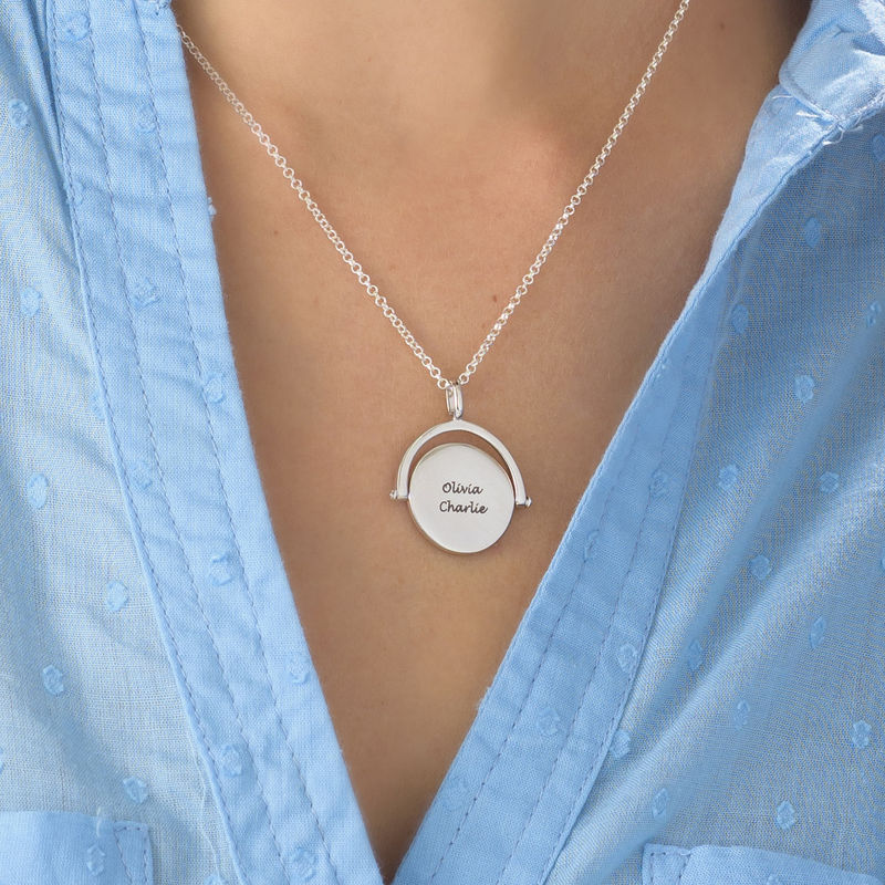 Spinning Infinity  Pendant Necklace in Silver - 4