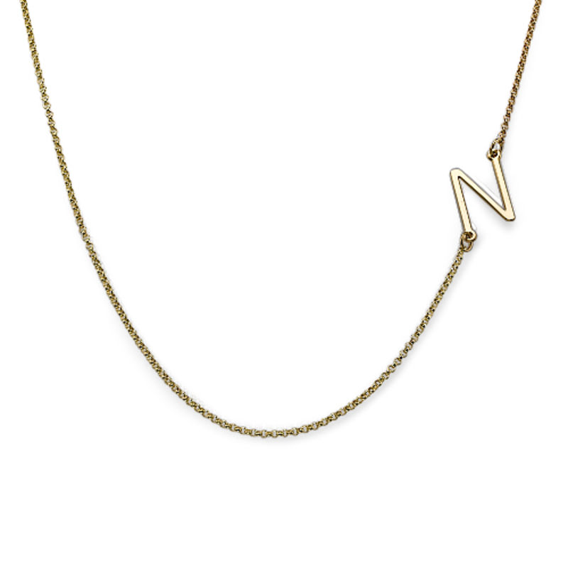 Two Sideways Initial Necklaces in 18k Gold Plating - 1