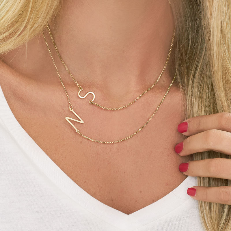 Two Sideways Initial Necklaces in 18k Gold Plating - 2