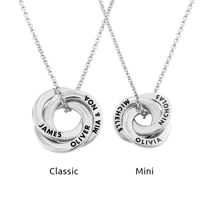 Russian Ring Necklace in Silver - 3D Curved Design - 3