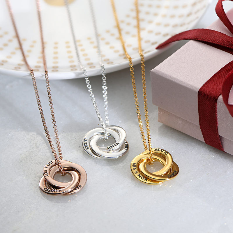 Russian Ring Necklace in Rose Gold Plated Silver - 3D Curved Design - 2