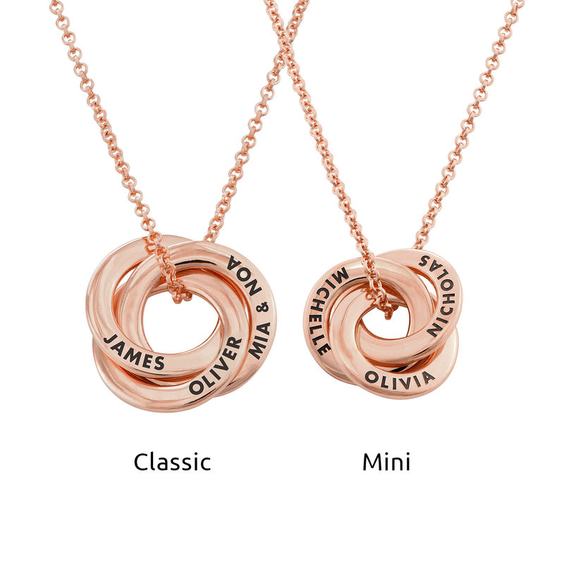 Russian Ring Necklace in Rose Gold Plated Silver - 3D Curved Design - 3
