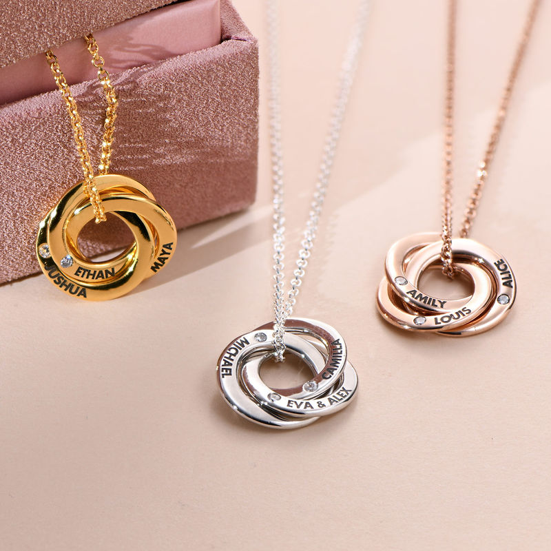 Russian Ring Necklace with Cubic Zirconia in Rose Gold Plating - 1