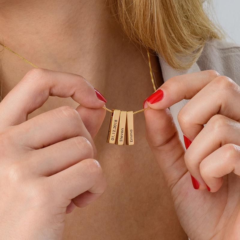Short 3D Bar Necklace in Gold Plating - 7