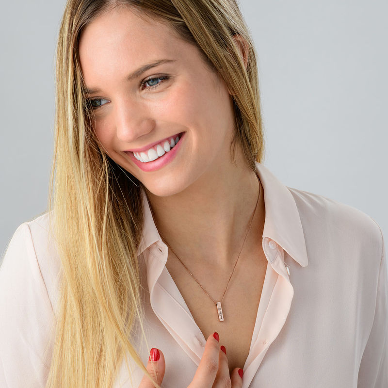 Short 3D Bar Necklace in Rose Gold Plating - 5