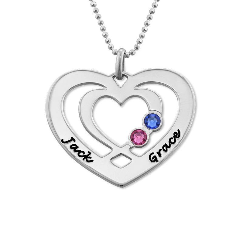 Heart Necklace in Silver with Birthstones