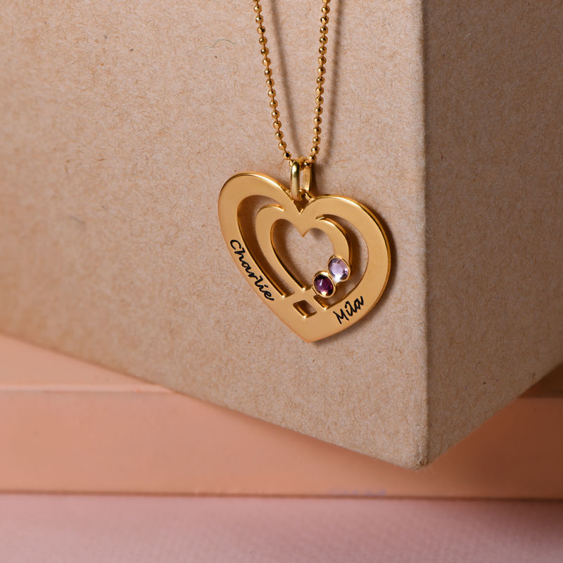 Heart Necklace in Gold Plating with Birthstones - 1