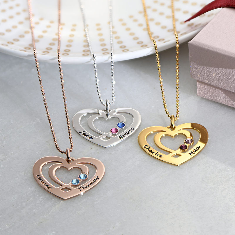 Heart Necklace in Rose Gold Plating with Birthstones - 1