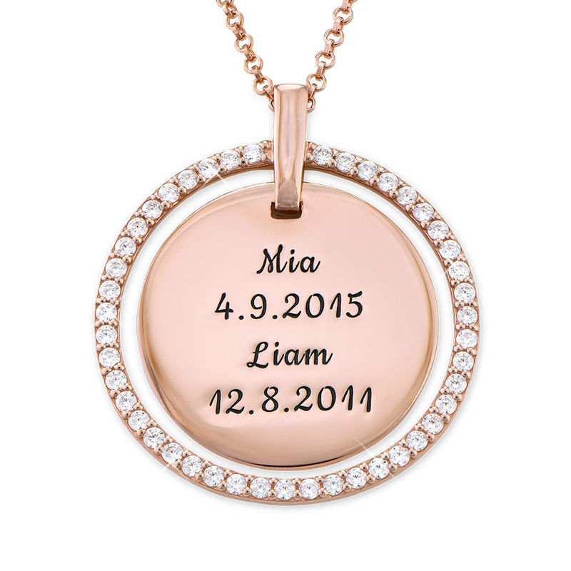 Engraved Disc Necklace in Rose Gold Plating