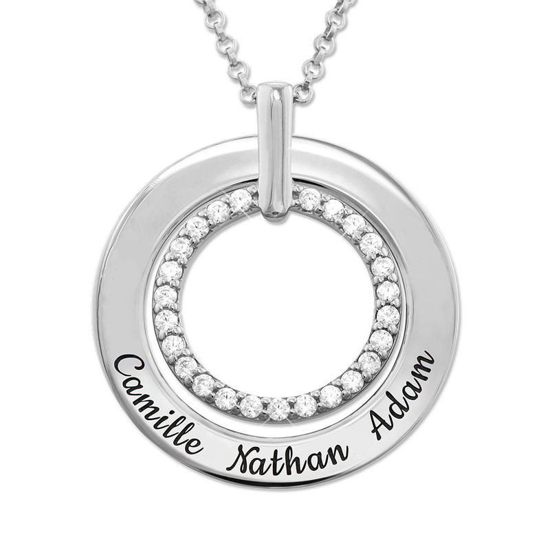 Engraved Circle Necklace in Silver
