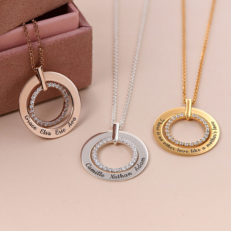 Engraved Circle Necklace in Silver - 1