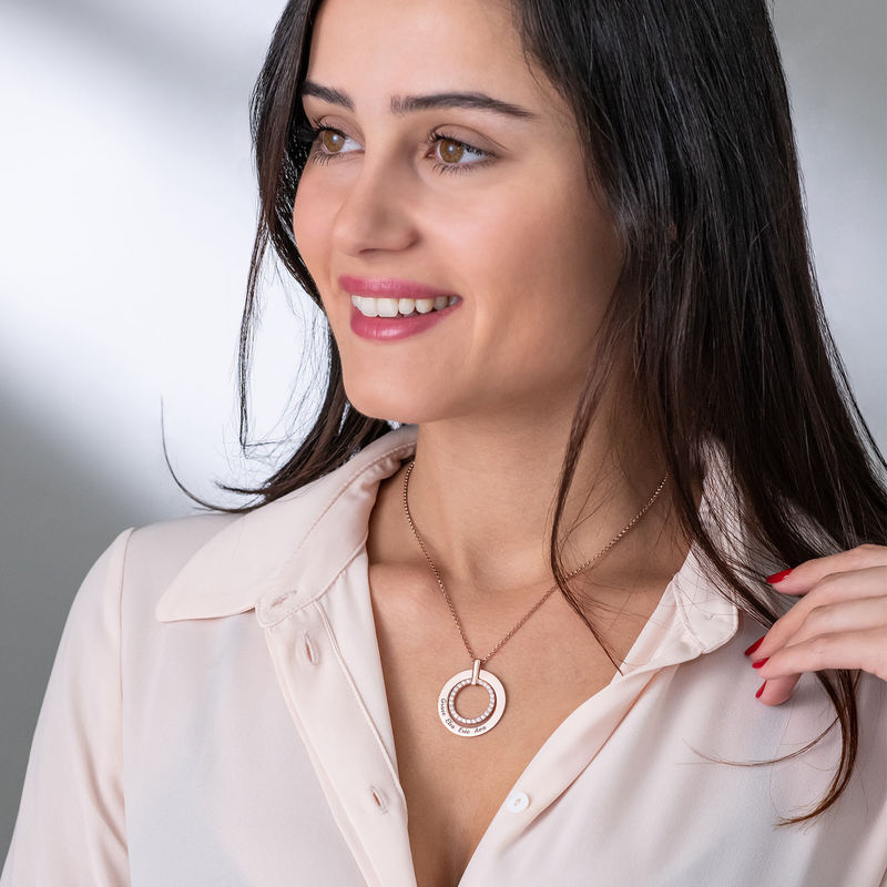 Engraved Circle Necklace in Rose Gold Plating - 2