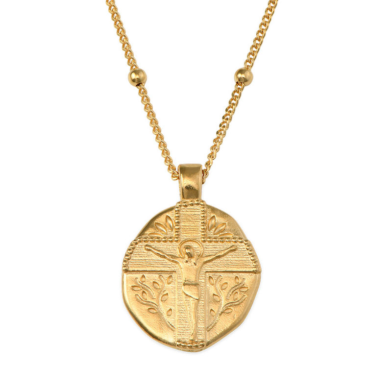 Jesus Christ Coin Necklace in Gold Plating