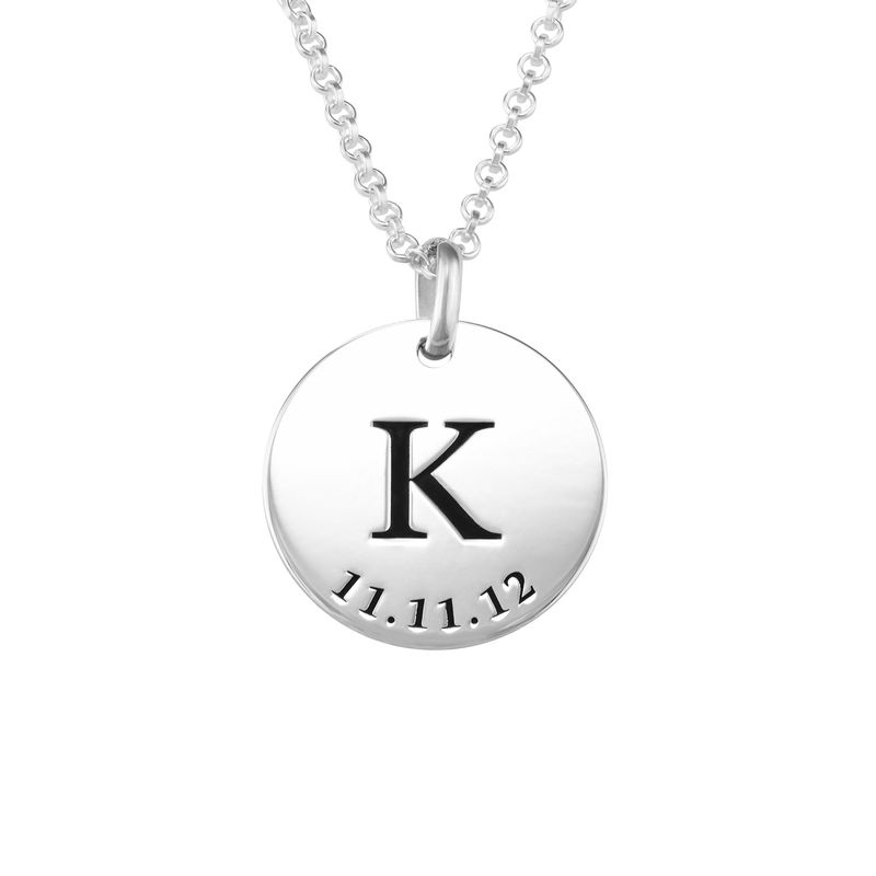 Personalized Initial and Date Necklace in Sterling Silver