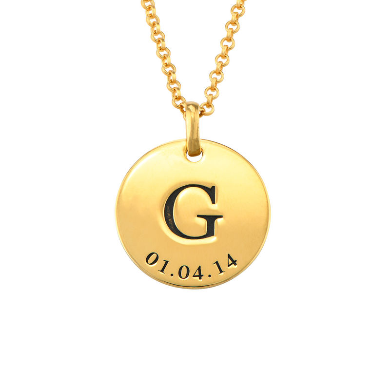 Personalized Initial and Date Necklace in Gold Plating