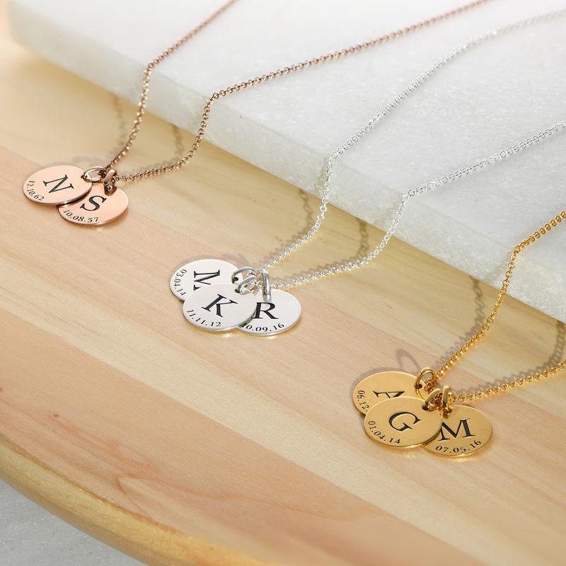 Personalized Initial and Date Necklace in Rose Gold Plating - 2