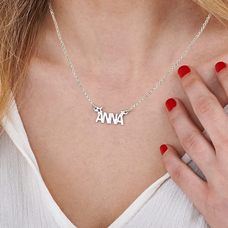 Star Name Necklace with Diamond in Silver  - 2