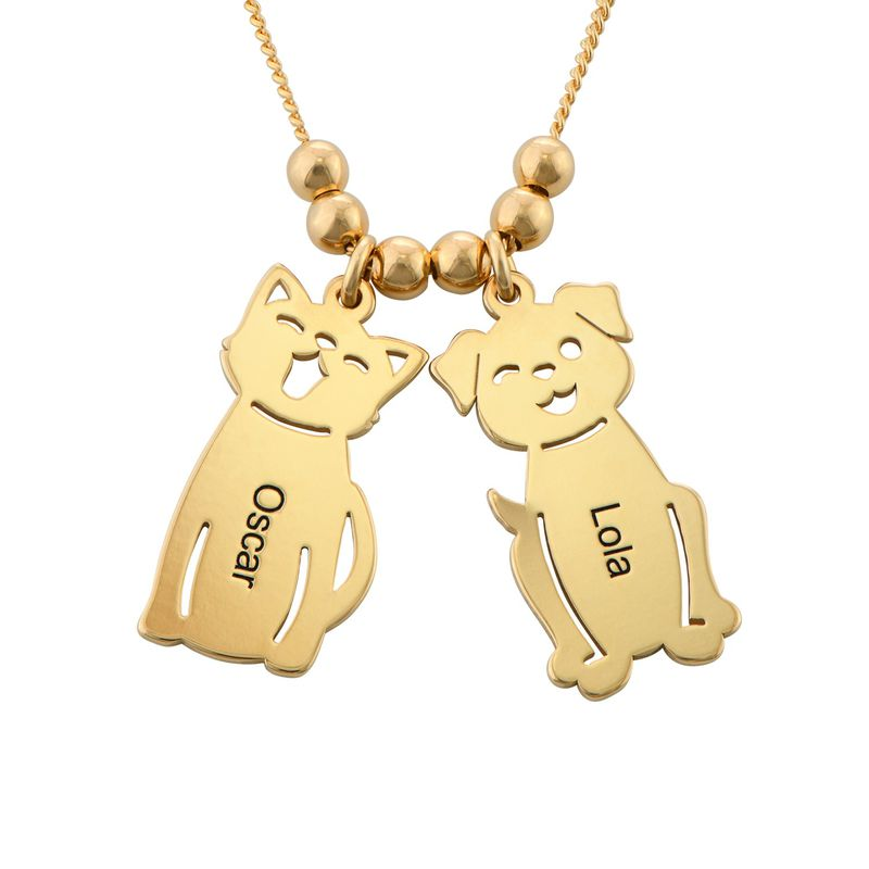 Engraved Kids Charm with Cat and Dog Charm Necklace in Gold Plating