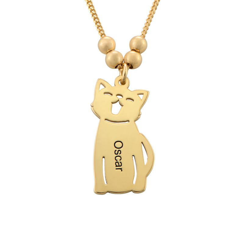 Engraved Kids Charm with Cat and Dog Charm Necklace in Gold Plating - 2