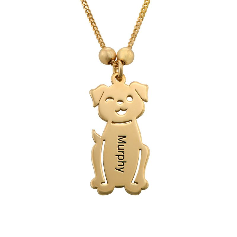 Engraved Kids Charm with Cat and Dog Charm Necklace in Gold Plating - 3
