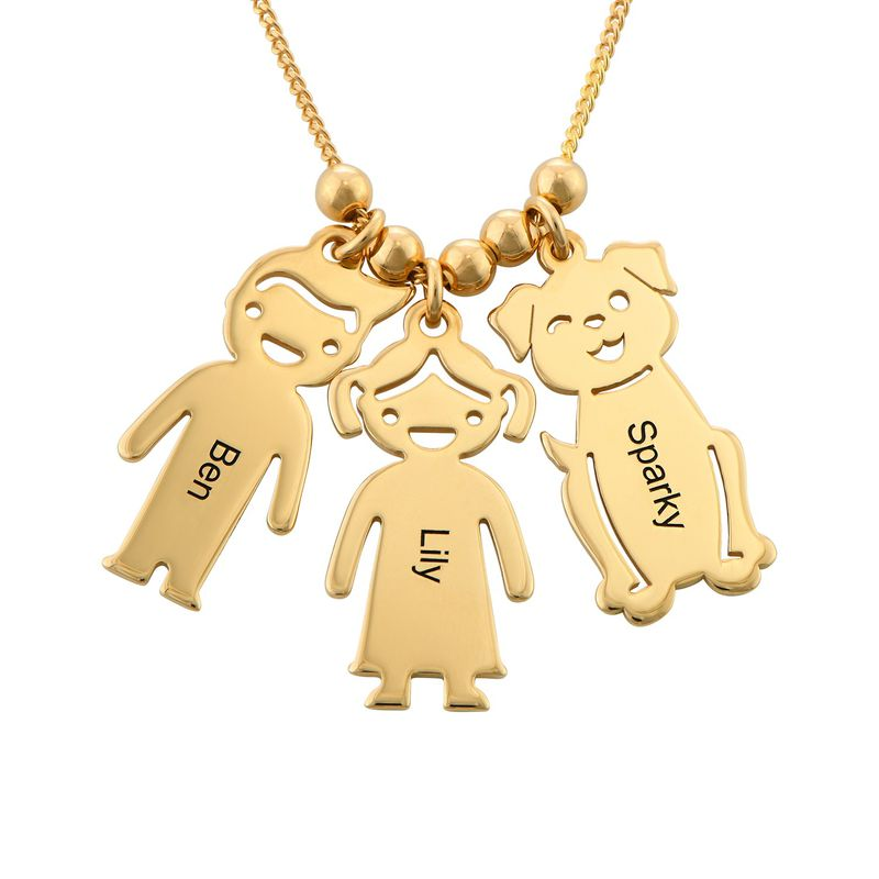 Engraved Kids Charm with Cat and Dog Charm Necklace in Gold Plating - 4