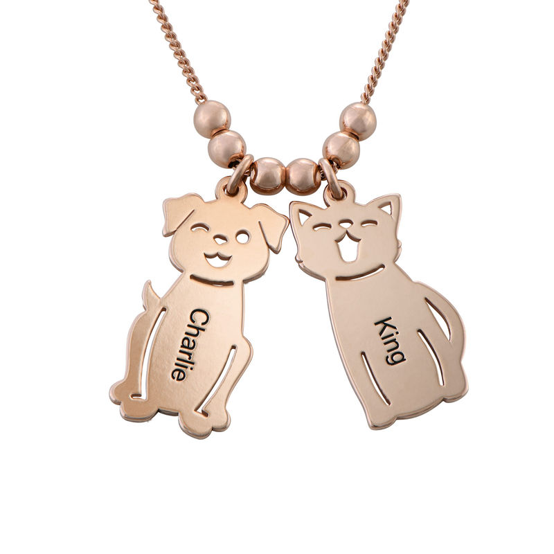 Engraved Kids Charm with Cat and Dog Charm Necklace in Rose Gold Plating