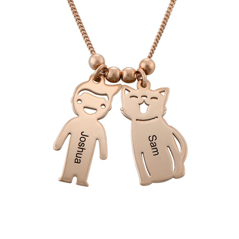 Engraved Kids Charm with Cat and Dog Charm Necklace in Rose Gold Plating - 1