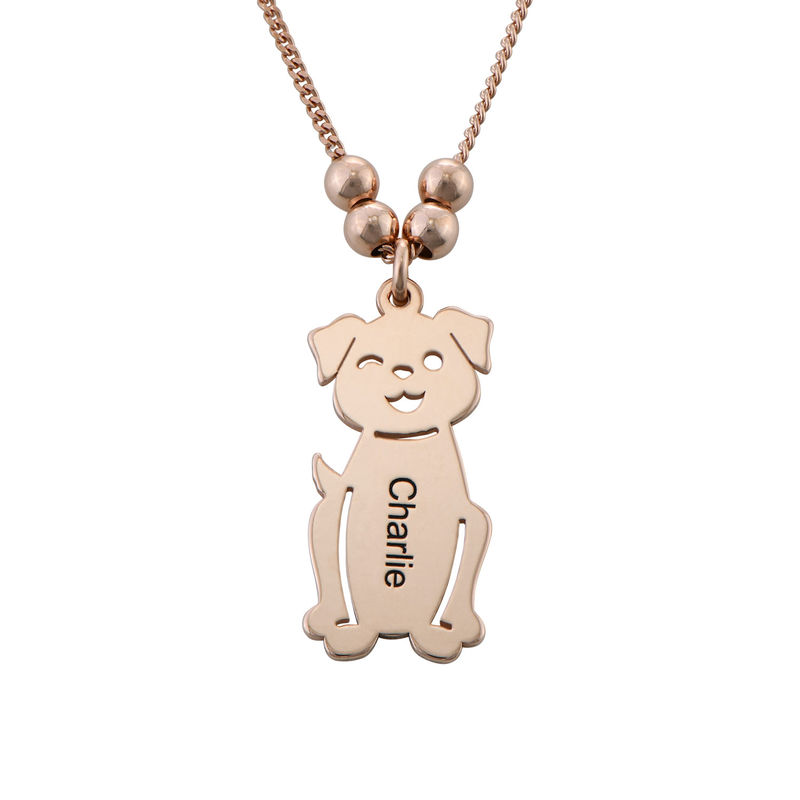 Engraved Kids Charm with Cat and Dog Charm Necklace in Rose Gold Plating - 3