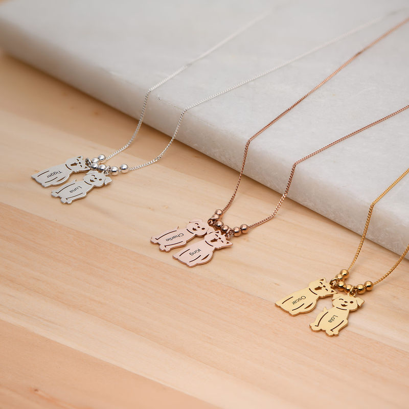 Engraved Kids Charm with Cat and Dog Charm Necklace in Rose Gold Plating - 5