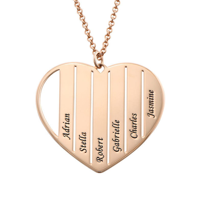 Mom Heart Necklace in Rose Gold Plating