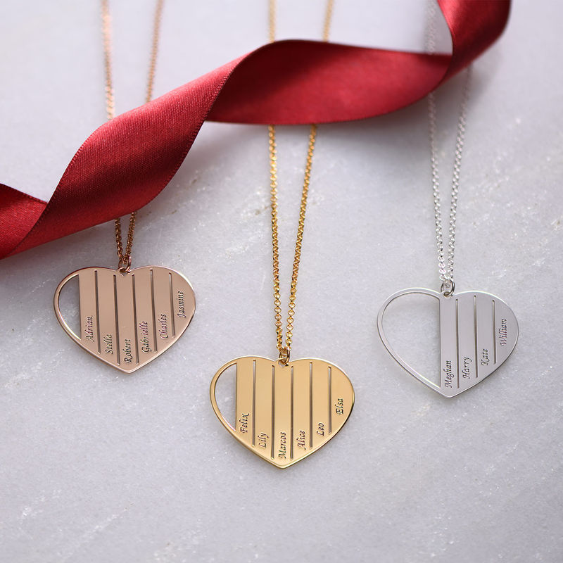 Mom Heart Necklace in Rose Gold Plating - 1
