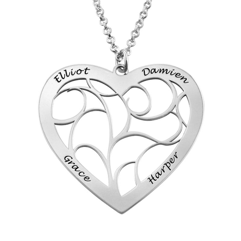 Heart Family Tree Necklace in Sterling Silver