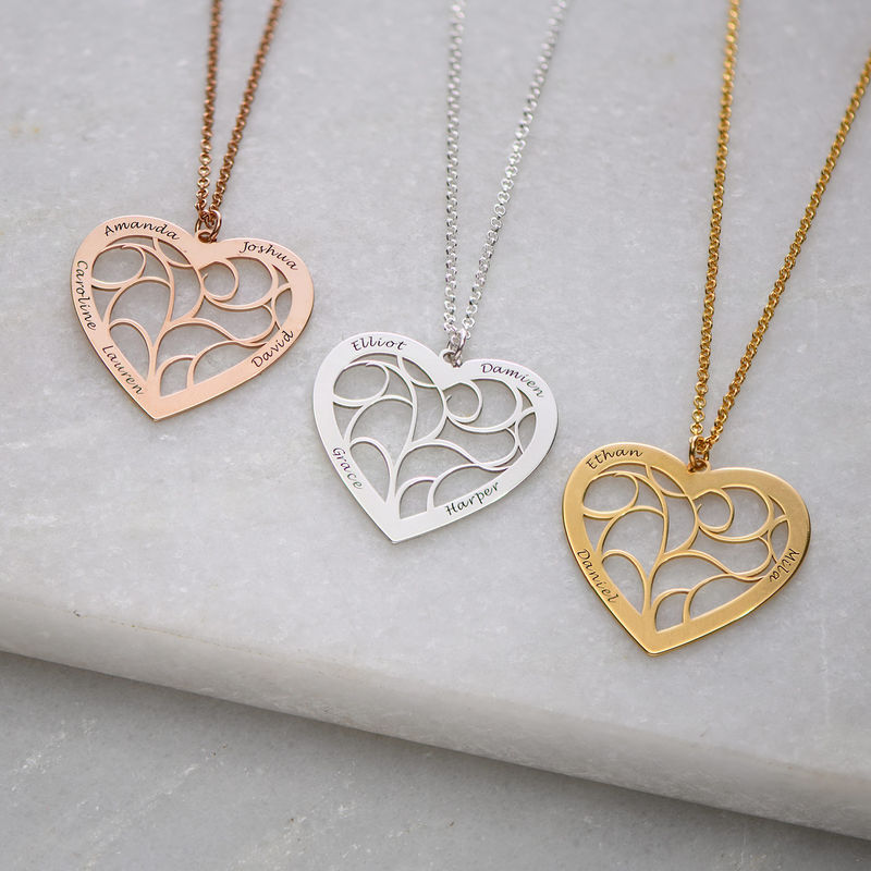 Heart Family Tree Necklace in Sterling Silver - 1