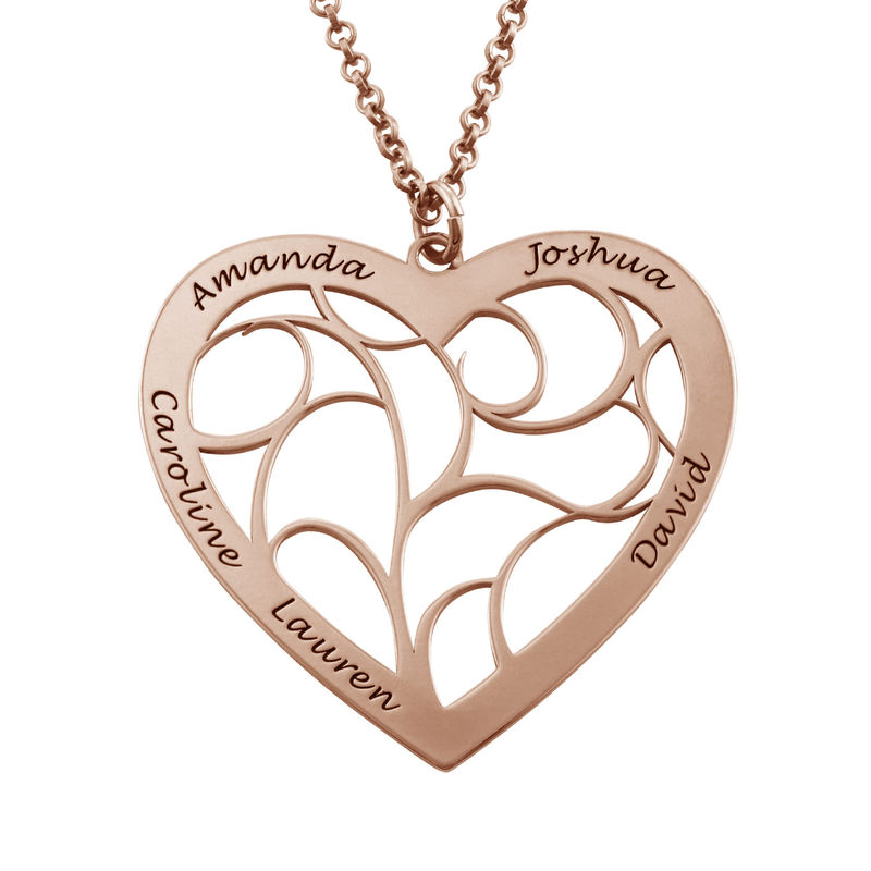 Heart Family Tree Necklace in Rose Gold Plating