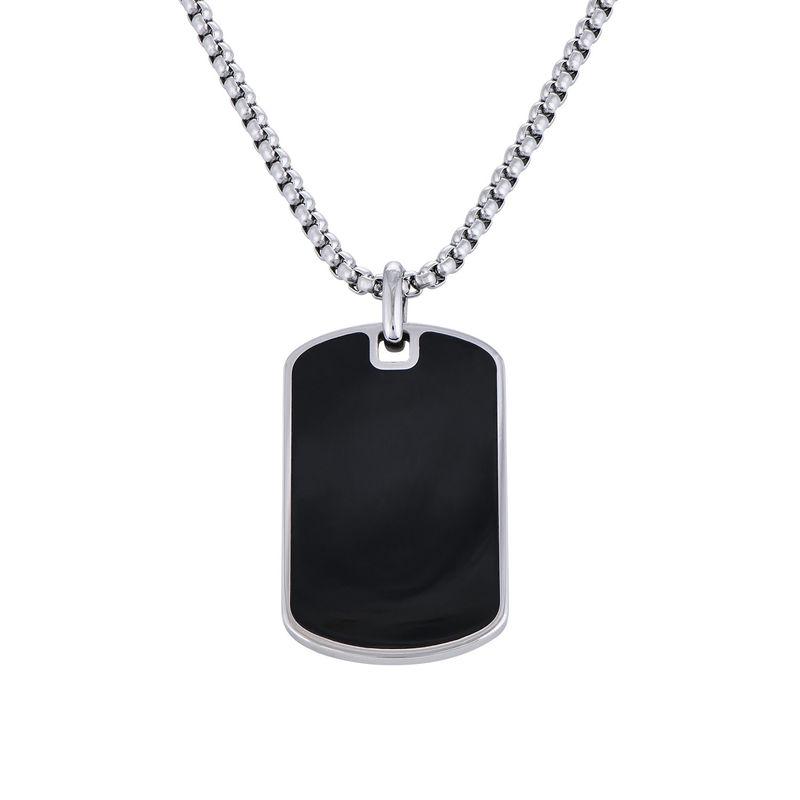 Custom Black Dog Tag Necklace for Men