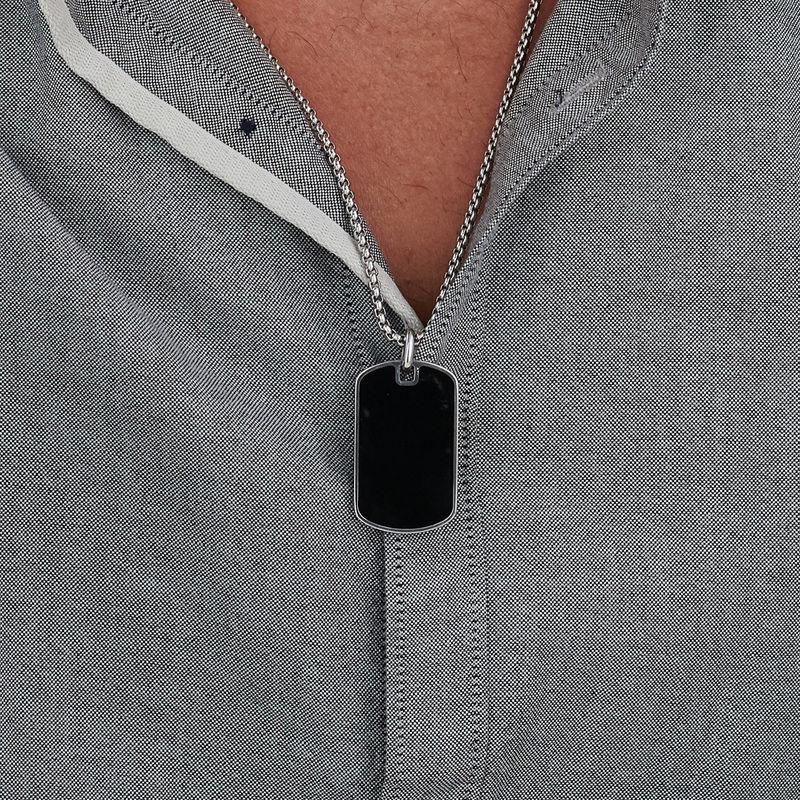 Custom Black Dog Tag Necklace for Men - 3