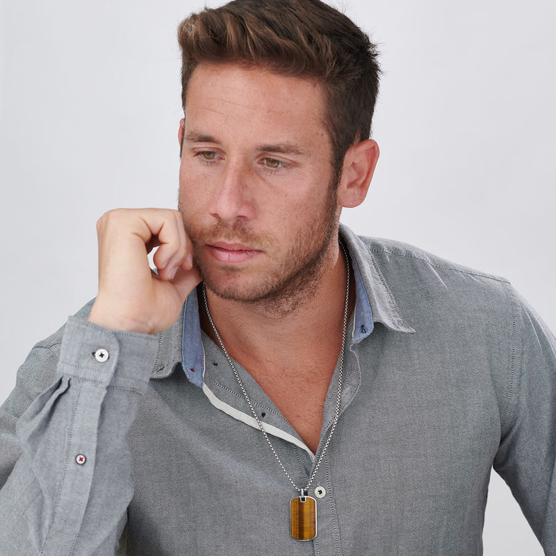Tiger's Eye Dog Tag Necklace for Men - 2