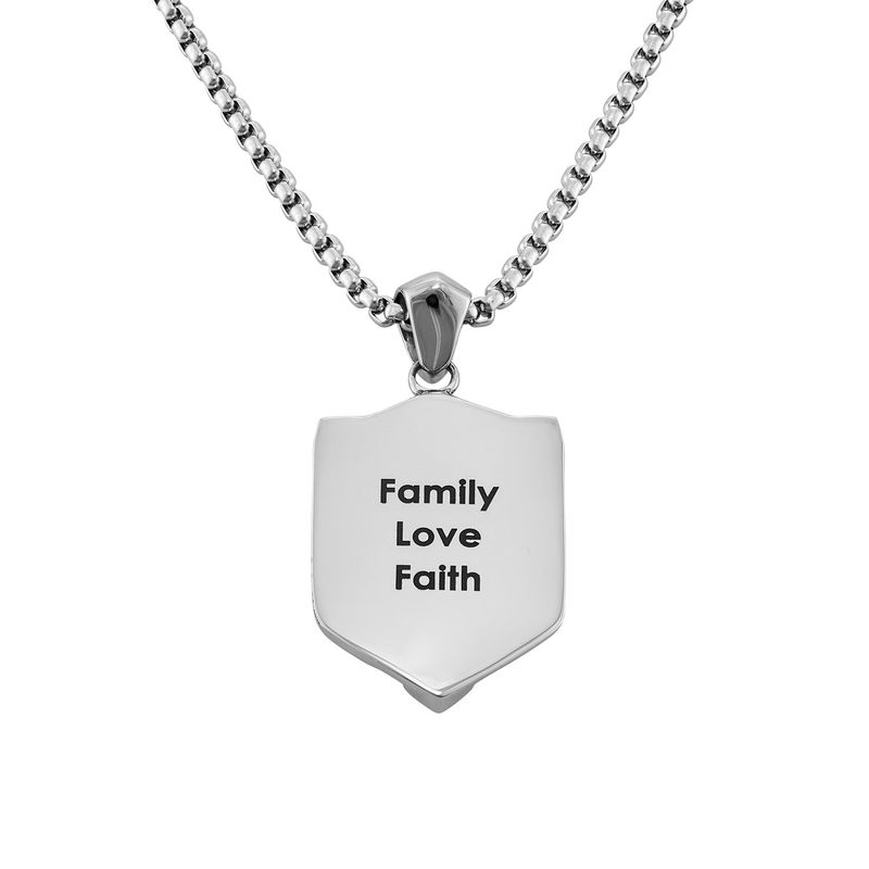 Engraved Shield Necklace for Men - 1