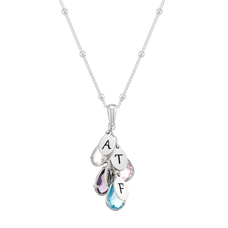 Custom Birthstone Drop Necklace for Mom in Silver