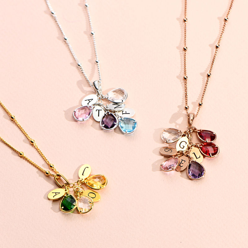 Custom Birthstone Drop Necklace for Mom in Rose Gold Plating - 1