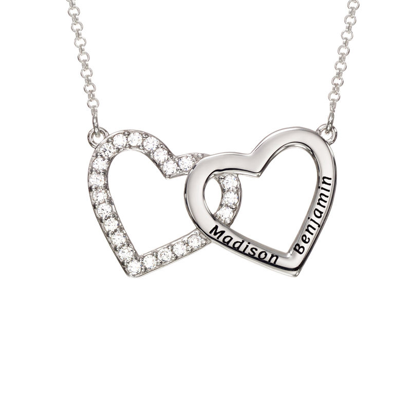 Engraved Double Heart Necklace in Sterling Silver