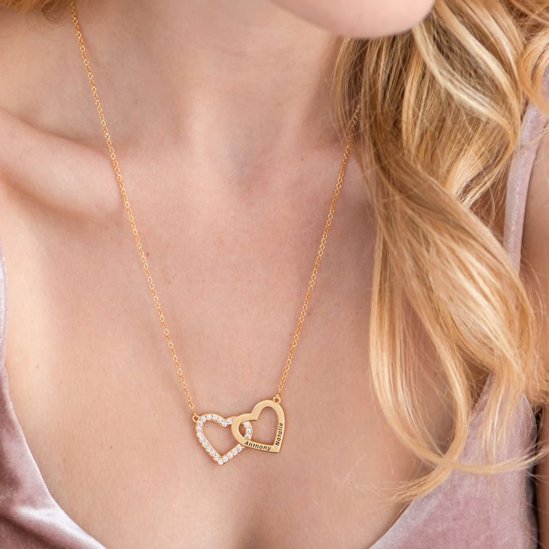 Engraved Double Heart Necklace in Gold Plating - 4