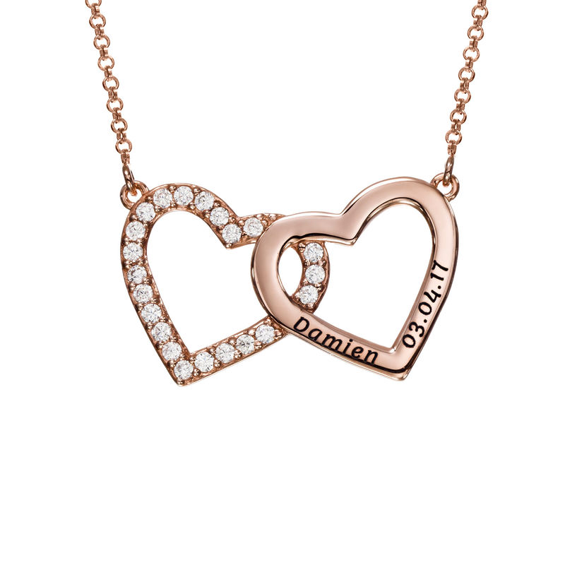 Engraved Double Heart Necklace in Rose Gold Plating