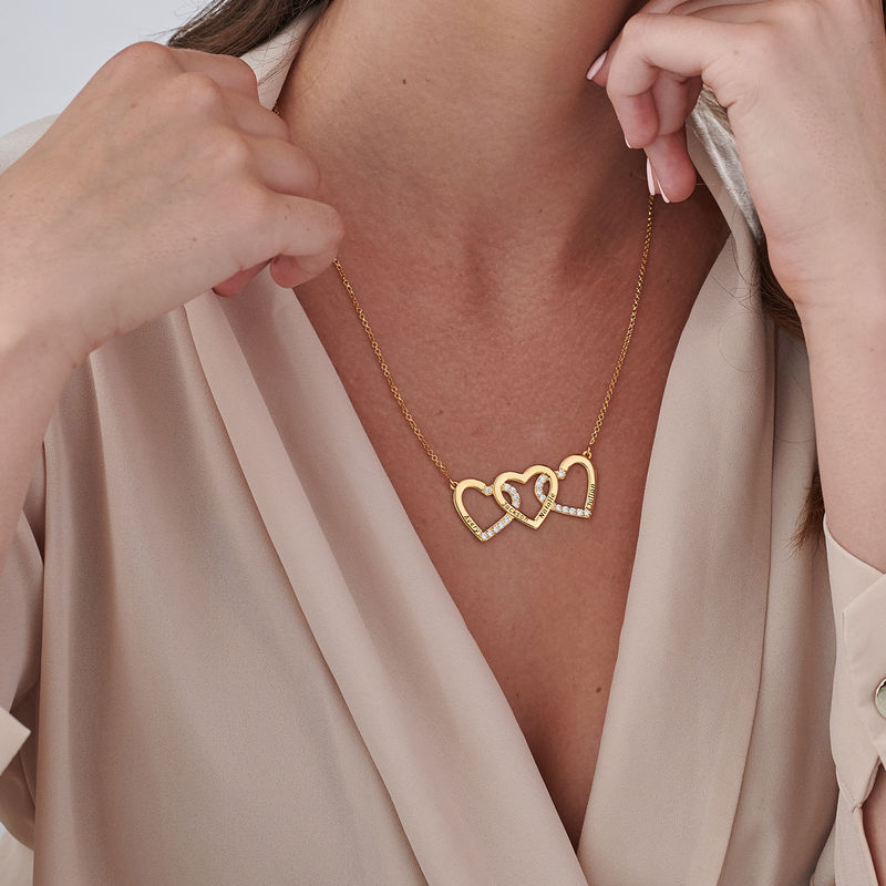 Engraved 3 Hearts Pendant Necklace in Gold Plating - 2