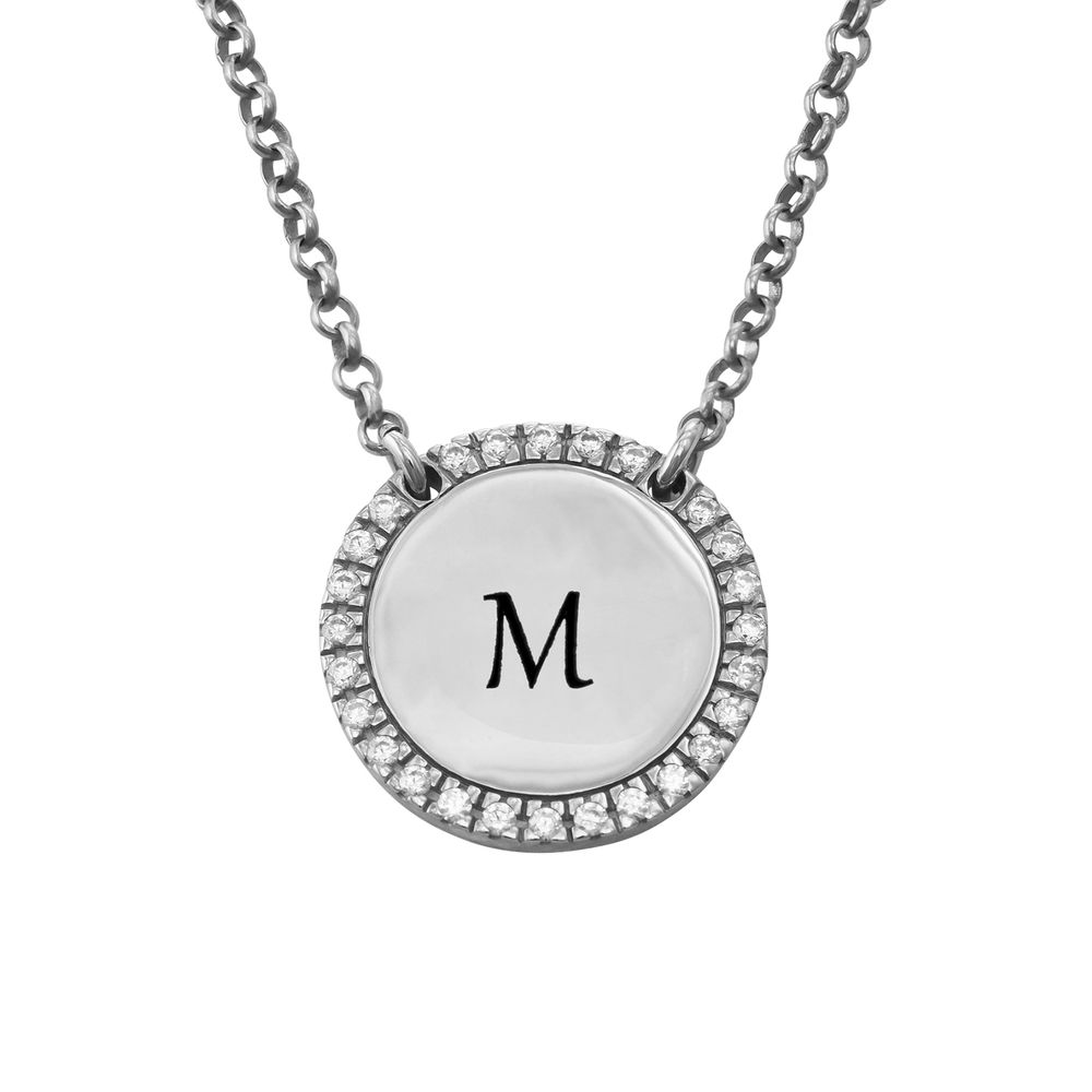 Personalized Round Cubic Zirconia Necklace in Silver