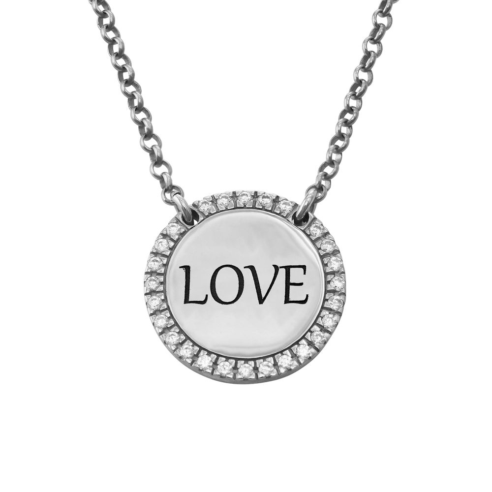 Personalized Round Cubic Zirconia Necklace in Silver - 1
