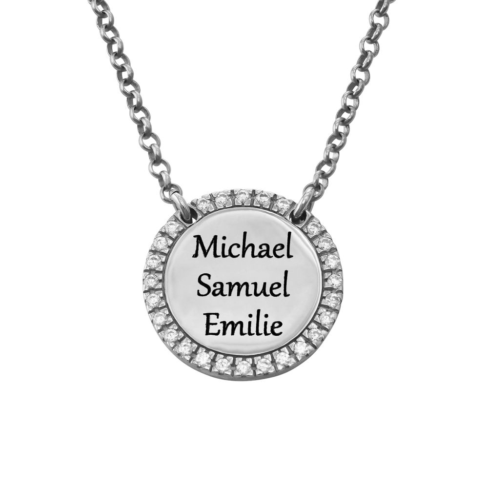 Personalized Round Cubic Zirconia Necklace in Silver - 2