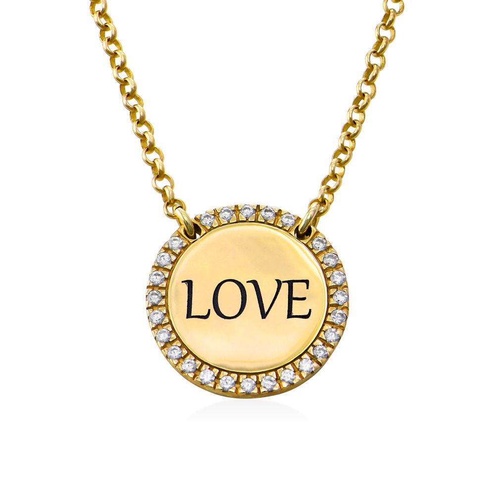 Personalized Round Cubic Zirconia Necklace in Gold Plating - 1