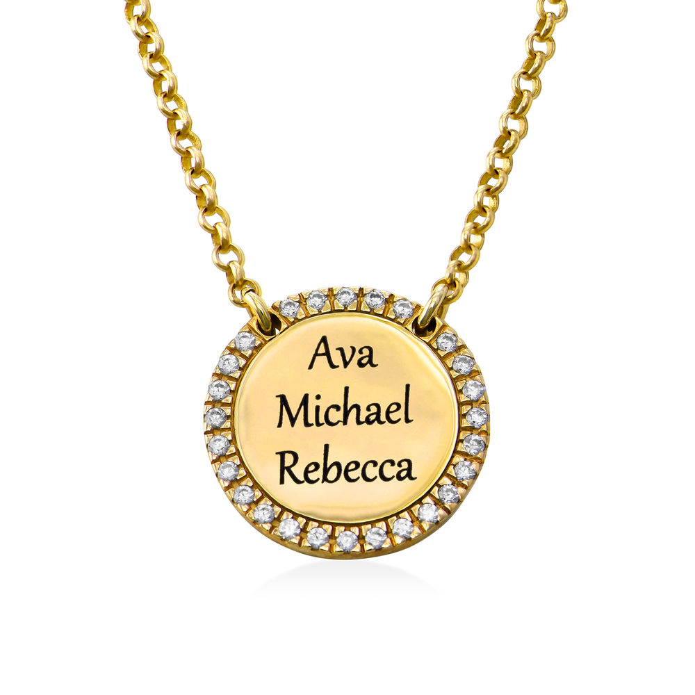 Personalized Round Cubic Zirconia Necklace in Gold Plating - 2
