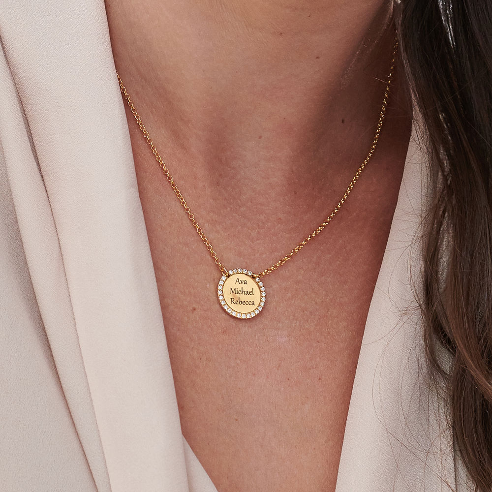 Personalized Round Cubic Zirconia Necklace in Gold Plating - 4